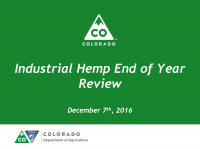 2016 Hemp Year in Review Meeting @ CDA